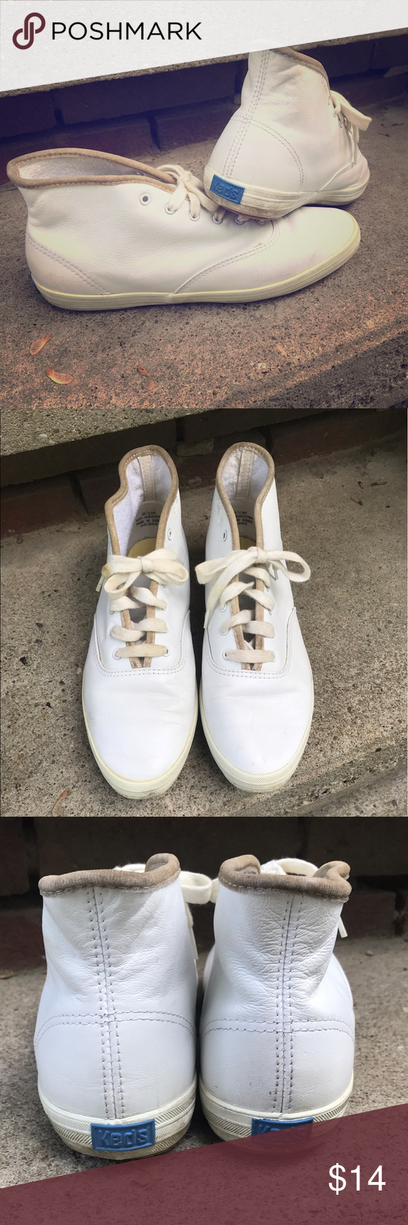 Vintage White Leather High Top Keds