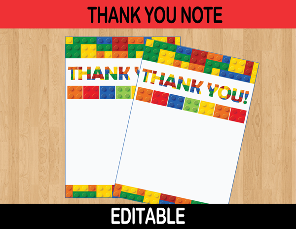 Building Blocks Editable Thank You Cards – INSTANT DOWNLOAD | Font ...