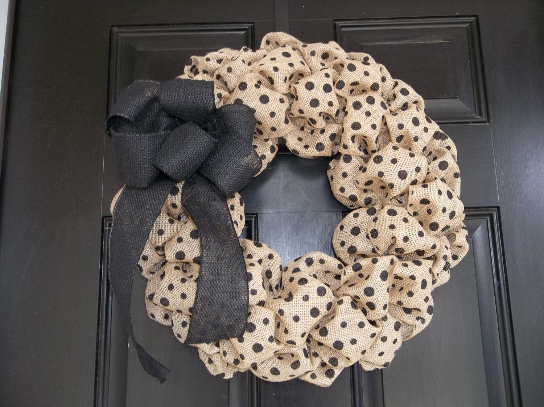 New 18  Natural and Black  Polka Dot  Burlap Wreath by cindidavis1, $30.00