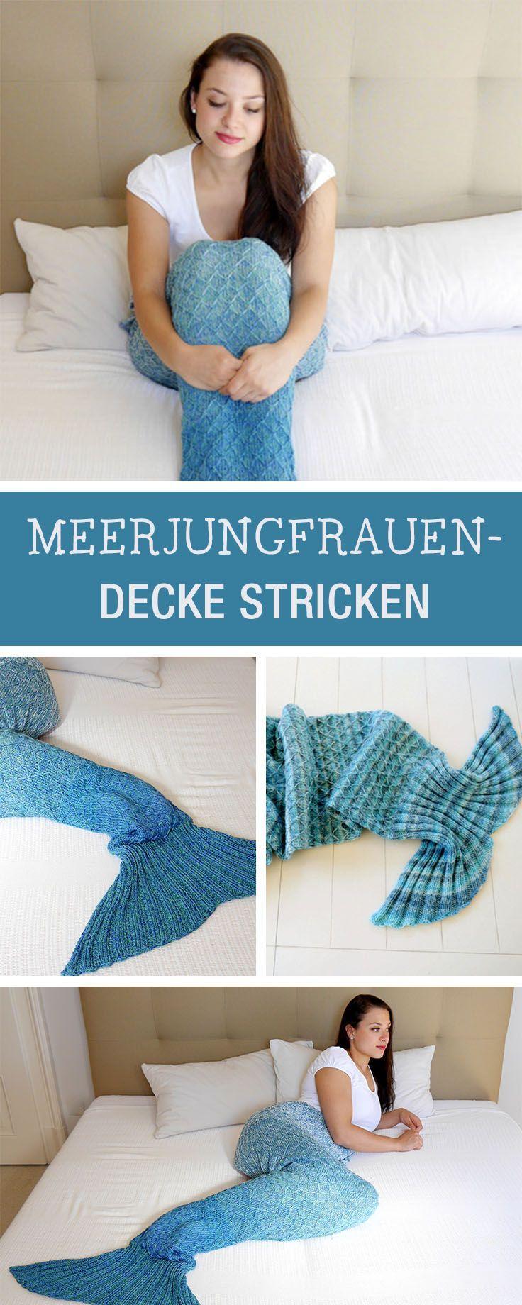 Strickanleitung für eine Meerjungfrauen Decke DIY | Meerjungfrau ...