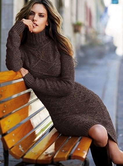 24cb08aea1 Prefer Burnt Orange with Brown Boots!! Sweater dress   My Style ...