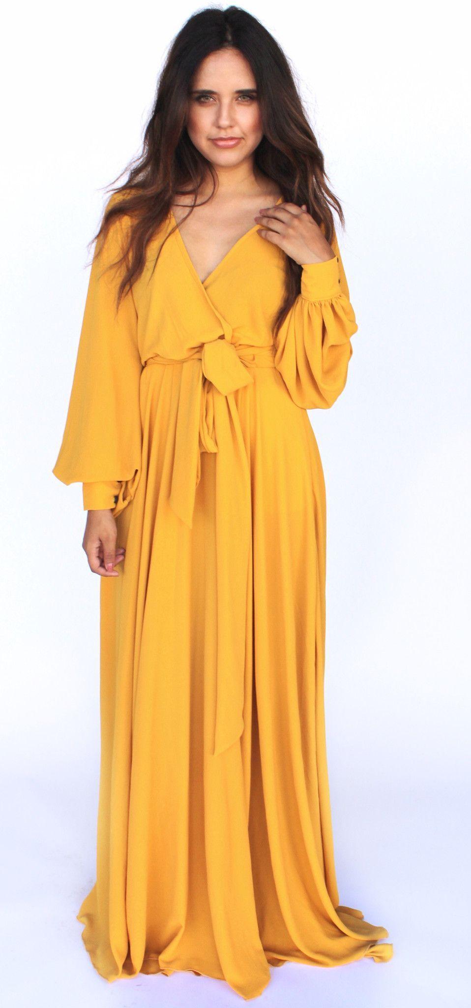 Long sleeve maxi dress mustard ropa pinterest long sleeve