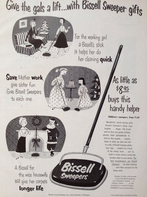 Vintage 1953 Bissell Sweeper Christmas Ad, Paper Ephemera from a ...