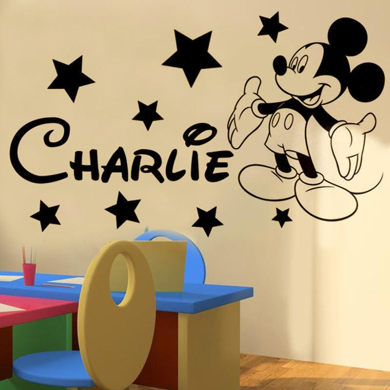 Mickey mickey Mouse Personalised boys bedroom wall sticker kit $8.89 ...