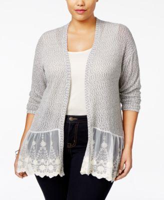 American Rag Plus Size Lace-Trim Peplum Cardigan | macys.com | My ...