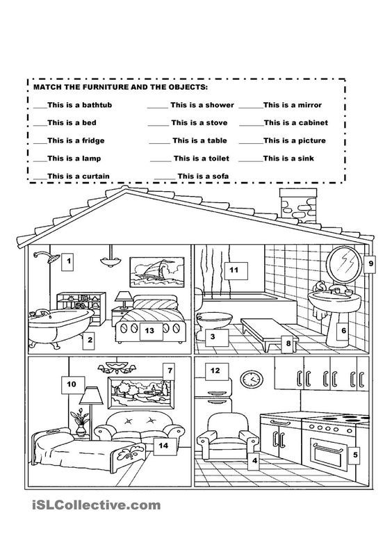 Furniture In The House English Worksheets For Kids English For Beginners English Activities