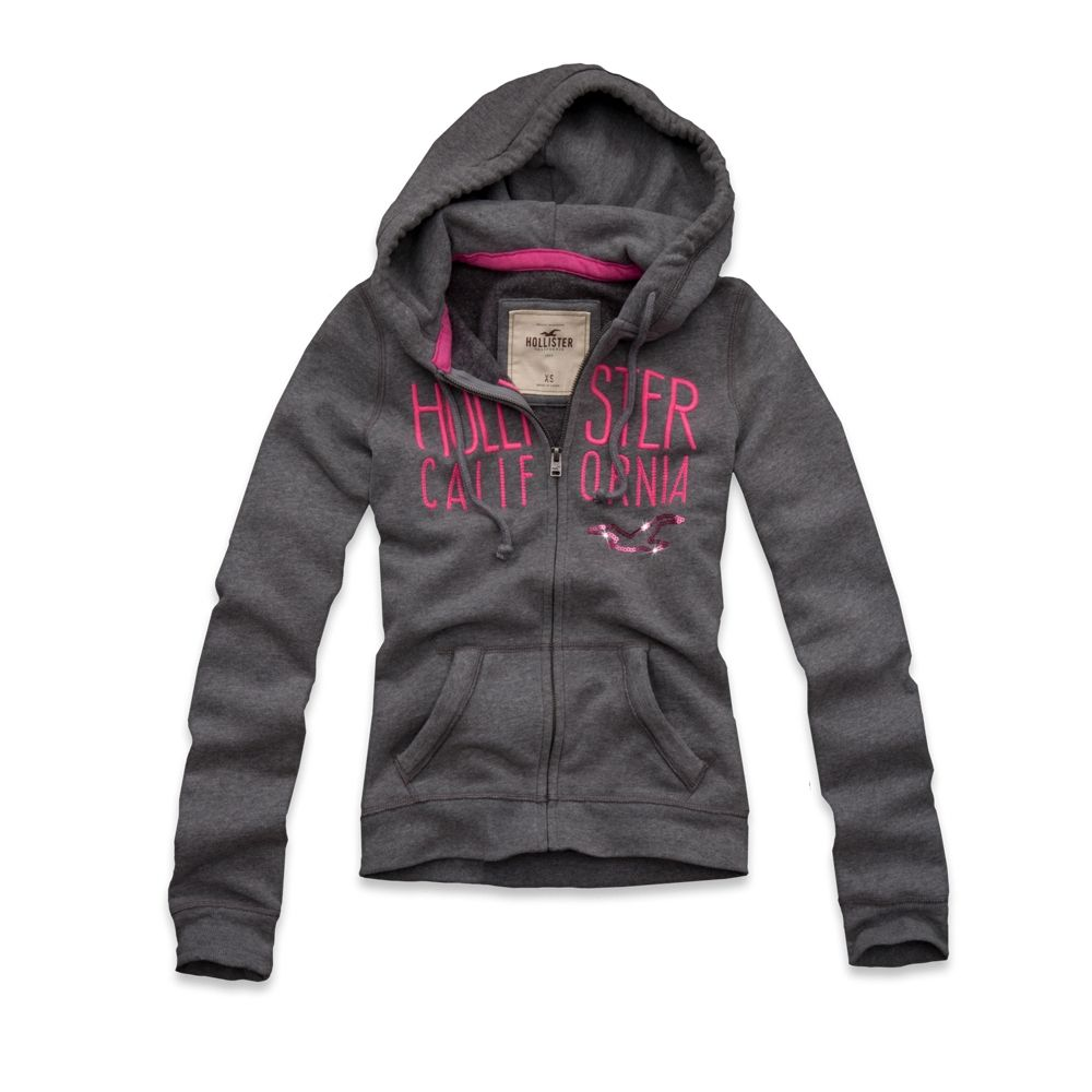 Hollister Hoodie I Like The Dark Heather Grey, Navy And