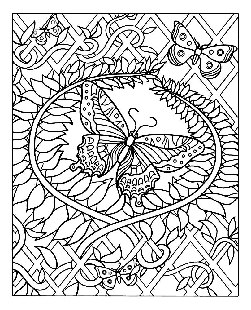 Free coloring page coloring difficult butterfly Adult