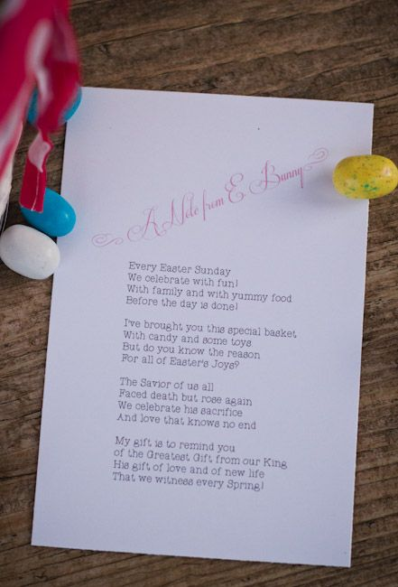 Fancy girlie easter basket pinterest easter religious easter printable poem from the easter bunny about the real gift of easter religious negle Images