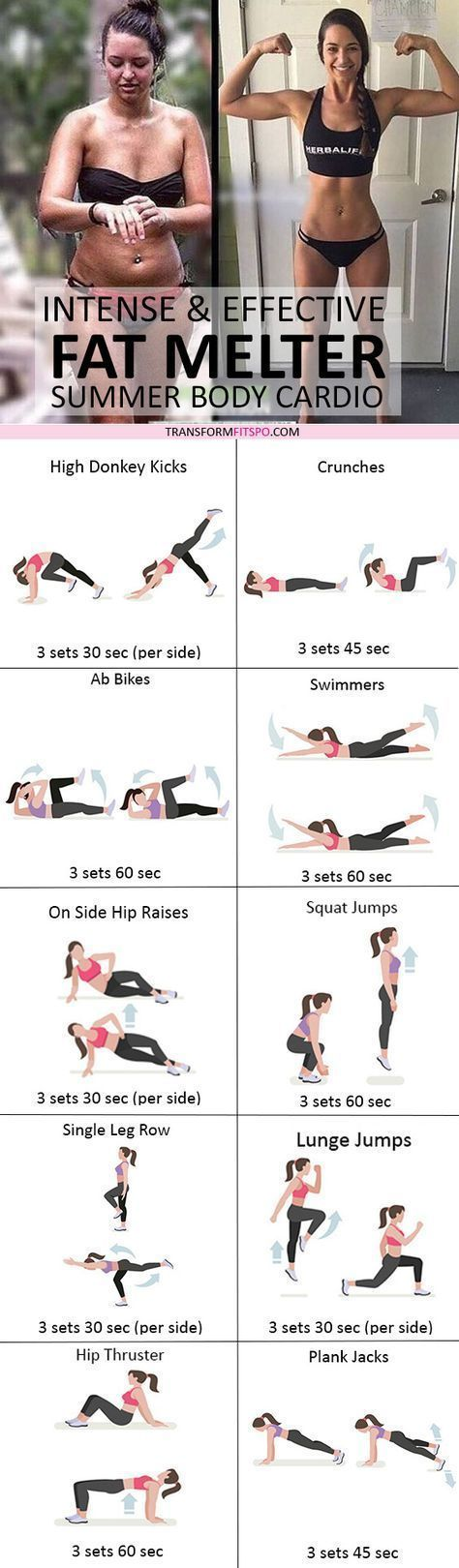 23 Intensive Cardio-Workouts, um hartnäckiges Bauchfett loszuwerden! #corepilates