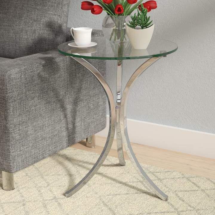 Kacie End Table Table En Verre Mobilier De Salon Et Palette De Gris
