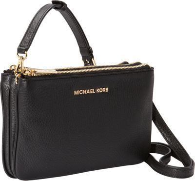 MICHAEL Michael Kors Bedford Gusset Crossbody Black - via eBags.com! 3  zippers leather