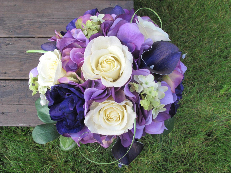Wedding Bouquet, Bridal Bouquet, Silk Bouquet, Purple