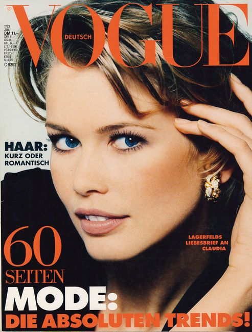 #Beauty #favorites by Merel Zoet - http://merelzoet.com: GERMAN VOGUE - JULY 1993 COVER MODEL - CLAUDIA SCHIFFER