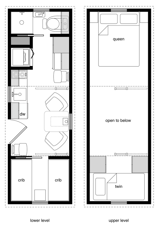 8 By 24 Foot Tiny House On Wheels Layout. Perfect For 2 Kids And