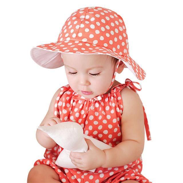 07e45dacb15 Sweet Baby Sunhat Newborn Infants Cotton Bucket Cap Cute Outdoor Polka Dots  Beach Ear Hats Summer Children Hat