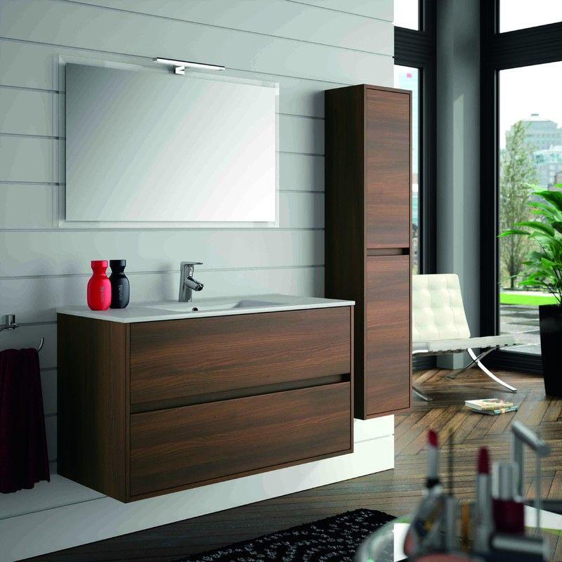 Meuble de salle de bain suspendu 1000 mm marron Acacia avec lavabo à encastrer collection Noja   Acacia marron – 1000 mm – Avec colonne, miroir et lampe LED – SA17076c