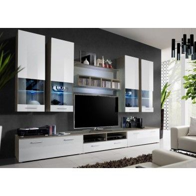 Ensemble meuble TV mural blanc et bois Déco Pinterest