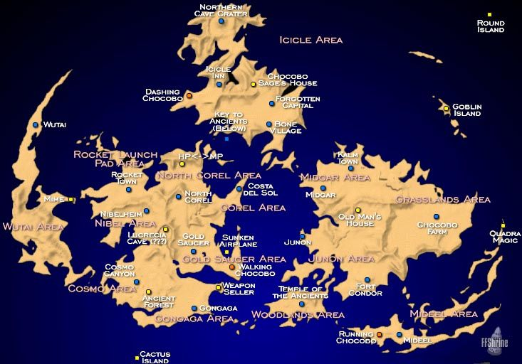 Map of Gaia (Final Fantasy VII) in 2019 | Final fantasy vii ...