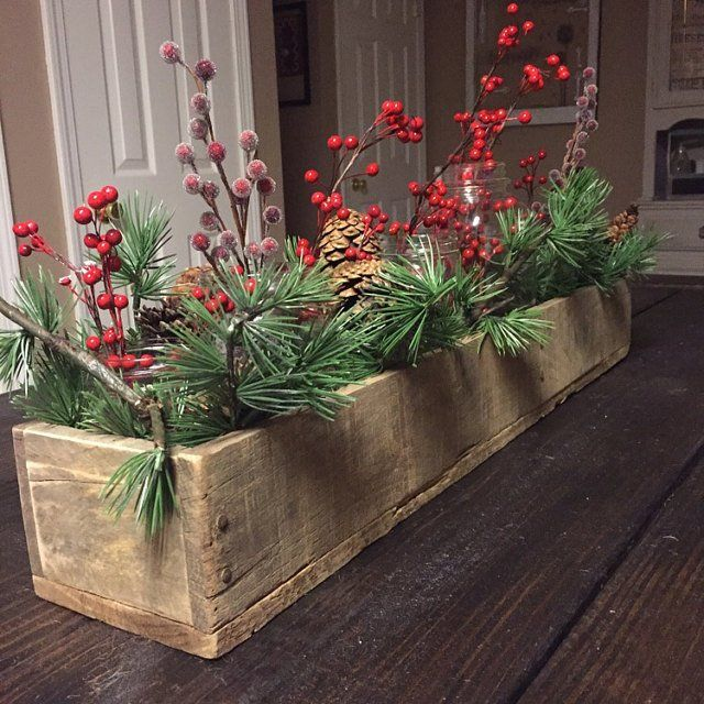 Rustic Wooden Planter Centerpiece Box (rustic home decor, wood box, mantle decor)