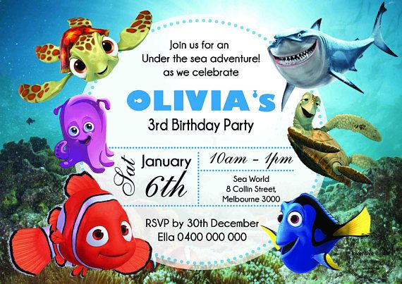 Finding Dory Finding Nemo Invitation with FREE Thank you card or