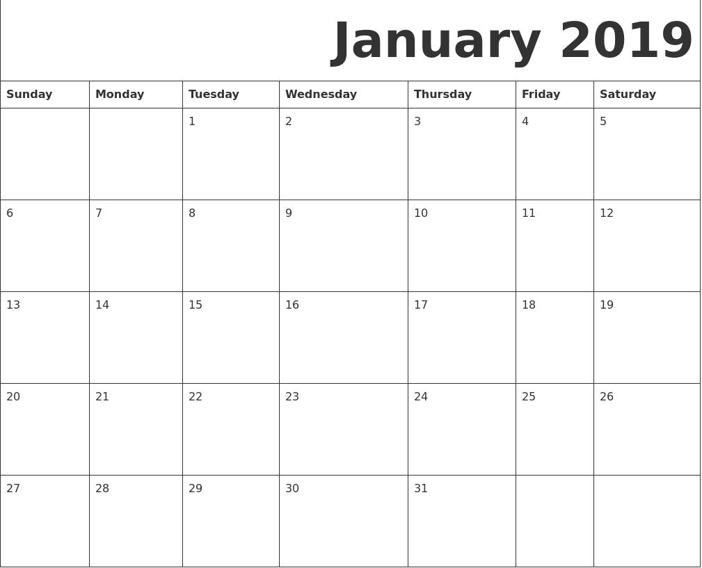 Calendar Pages To Print 2019.Print Editable Blank Calendar January 2019 January 2019 Printable