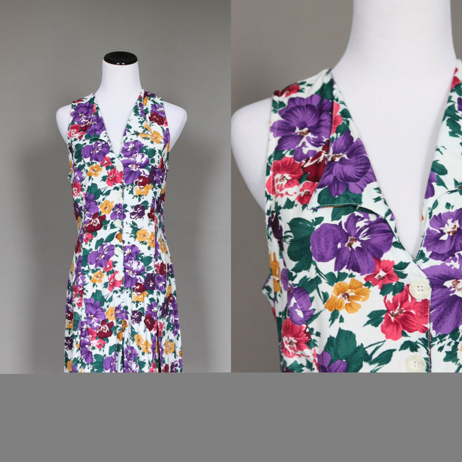 1990s Romper Vintage 90s Floral Rayon Playsuit White Purple Pink Green and Yellow Sleeveless Large by persnicketyvintage on Etsy https://www.etsy.com/listing/204756264/1990s-romper-vintage-90s-floral-rayon