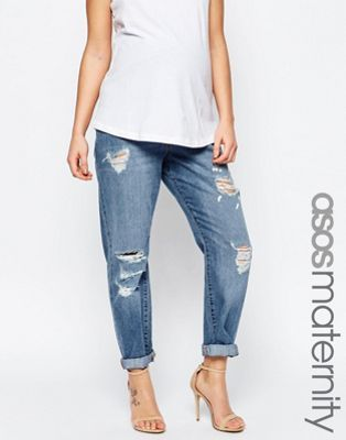 664df9e11d025 ASOS Maternity Brady Slim Boyfriend Jeans In Avaline Mid Wash With Over The  Bump Waistband With Under The Bump Waistband