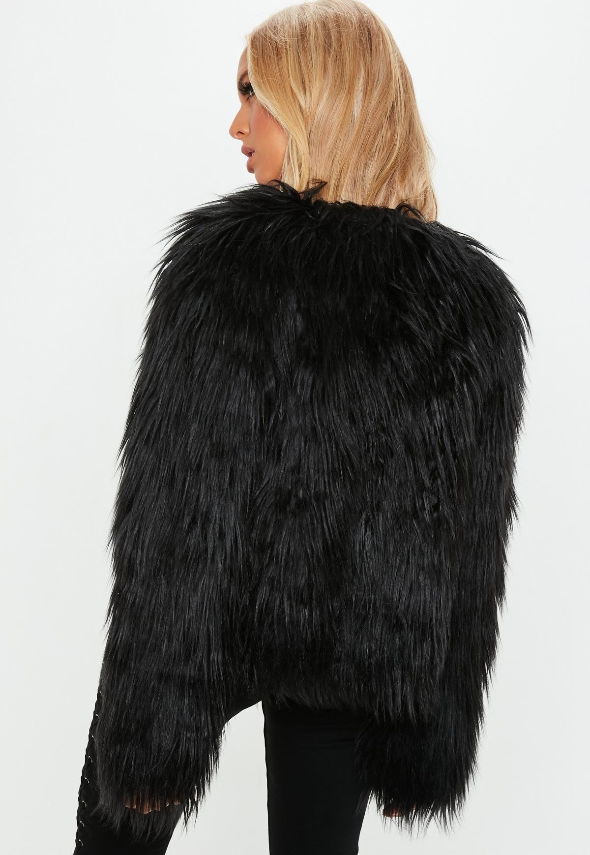 Black Shaggy Faux Fur Coat Missguided Long faux fur