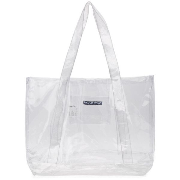 A Cold Wall Transpa Plastic Tote 250 Liked On Polyvore Featuring Bags Handbags Clear White Purse Bag Logo