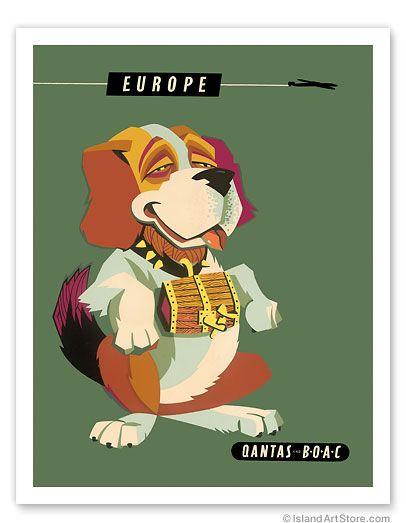 Europe - Saint Bernard Dog - Qantas Empire Airways (QEA) - BOAC - Giclée Art Prints & Posters