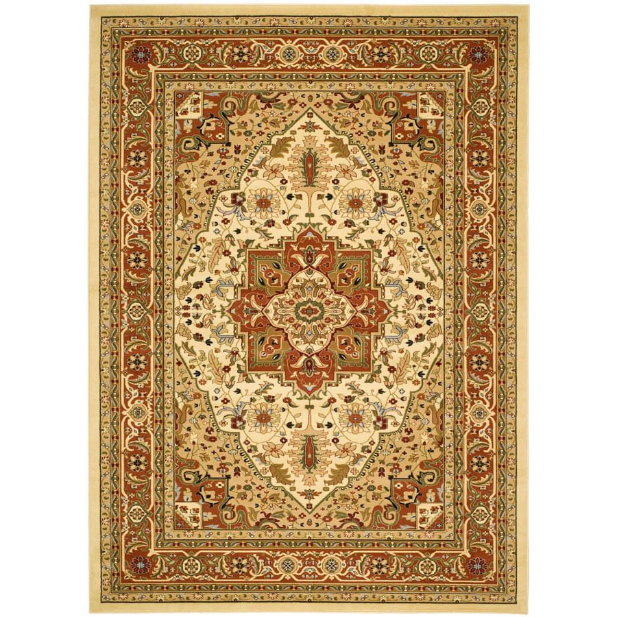 Shop Safavieh Lyndhurst Rectangular Cream Floral Woven Area Rug (Common: 9-ft x 12-ft; Actual: 107-in x 144-in) at Lowes.com