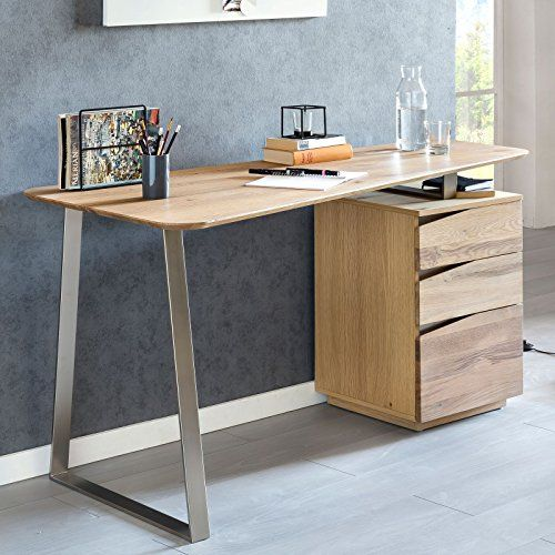 Finebuy Schreibtisch Frona 150x67x76 Cm Eiche Massivholz Tischplatte