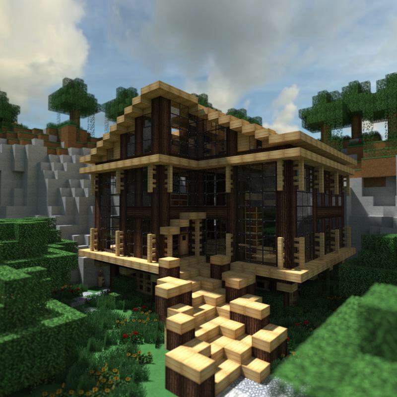 Modern Wood House Minecraft Modern Modern Minecraft Houses