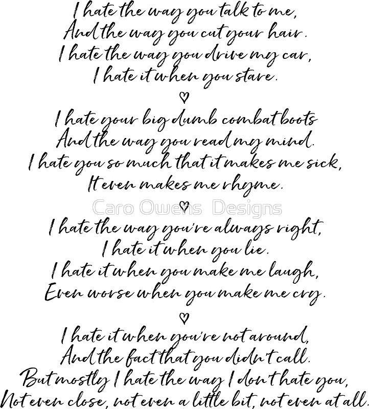 I Hate The Way You Talk To Me Poem Erva Cidreirainfo
