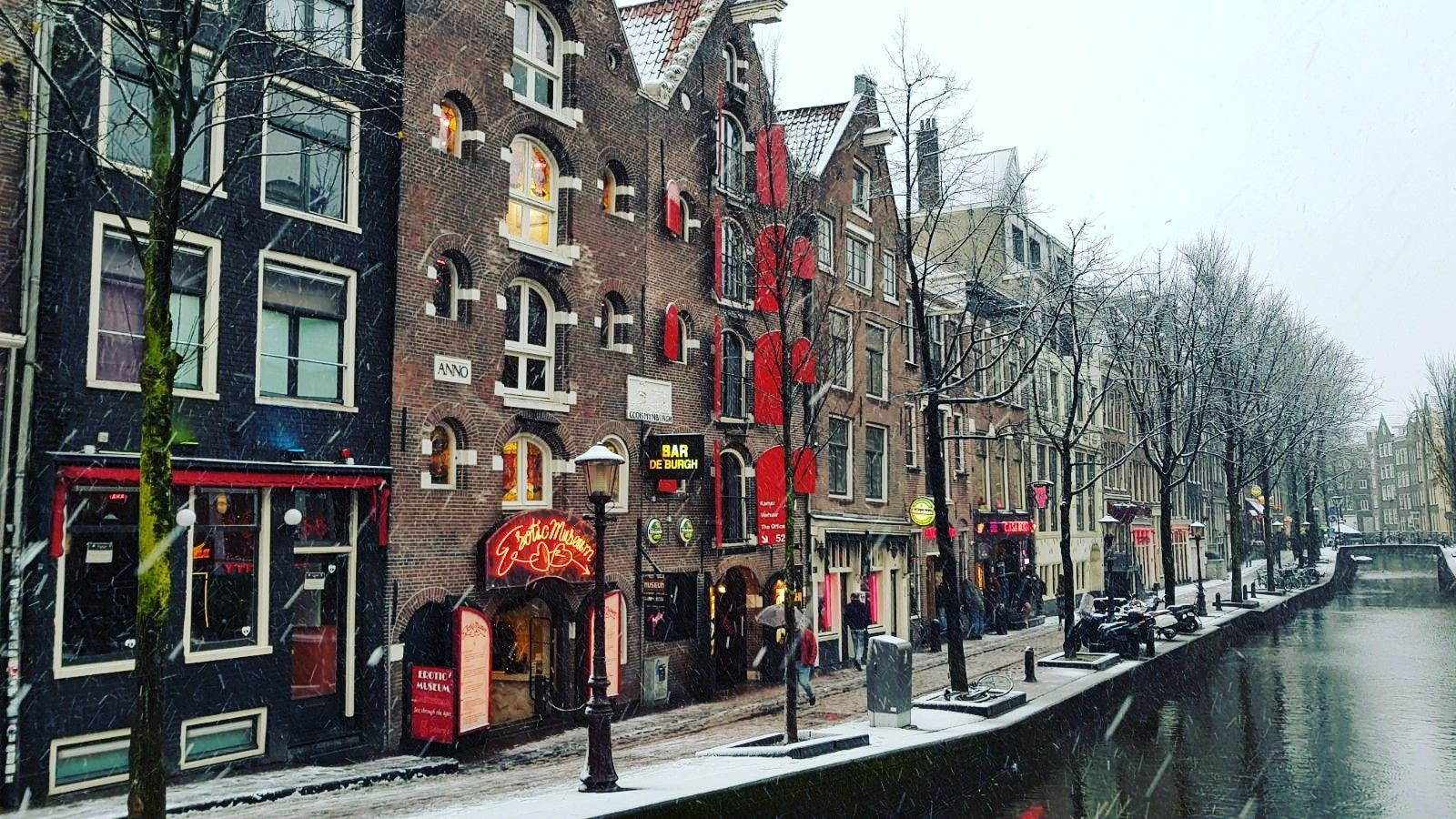 The Main Canal Of The Red Light District Of Amsterdam Oudezijds