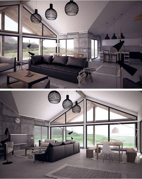 Open plan large windows vaulted ceiling living room interior design also rh pinterest