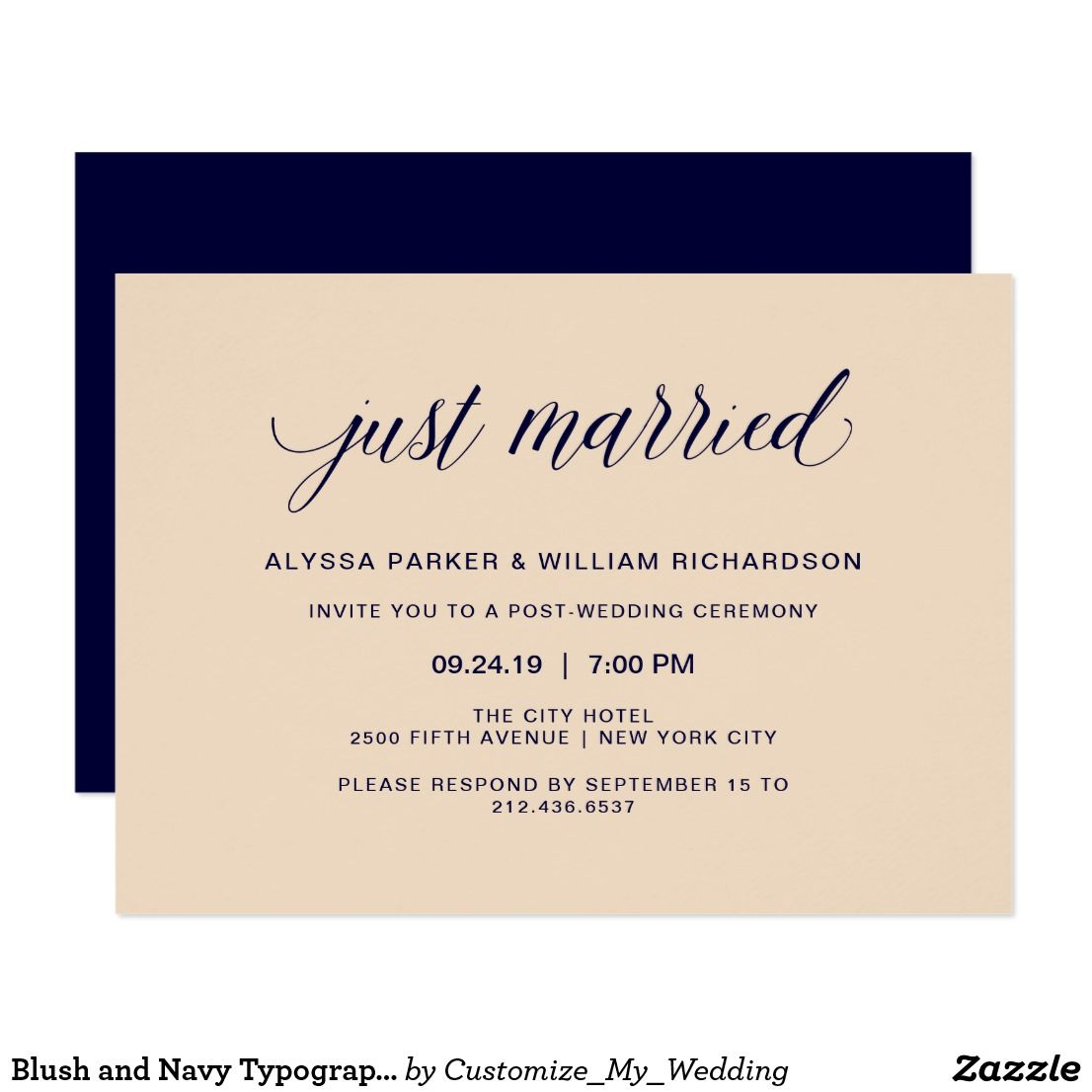 Blush and Navy Typography Just Married Celebration Card These