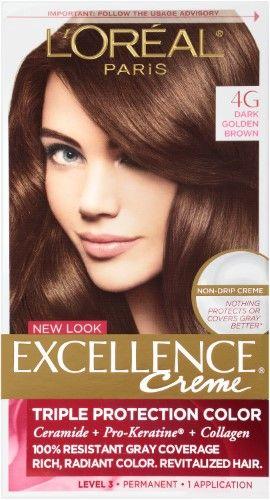 L Oreal Paris Excellence Creme Haircolor Dark Golden Brown 4g 1 Ea Loreal Paris Golden Brown Hair Color Loreal