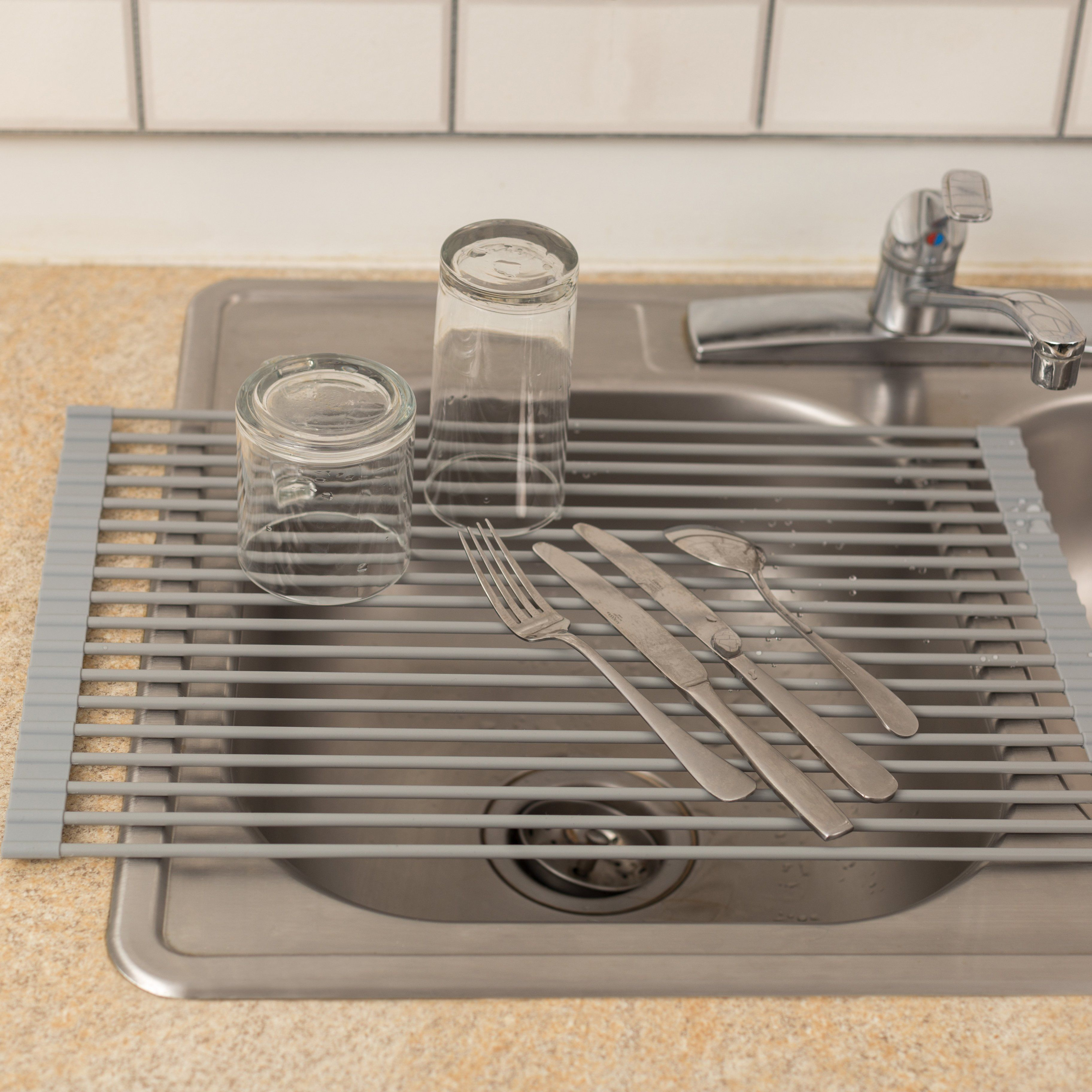 Roll Up Dish Drying Rack Traditional Kitchen Kitchen Tops Cool