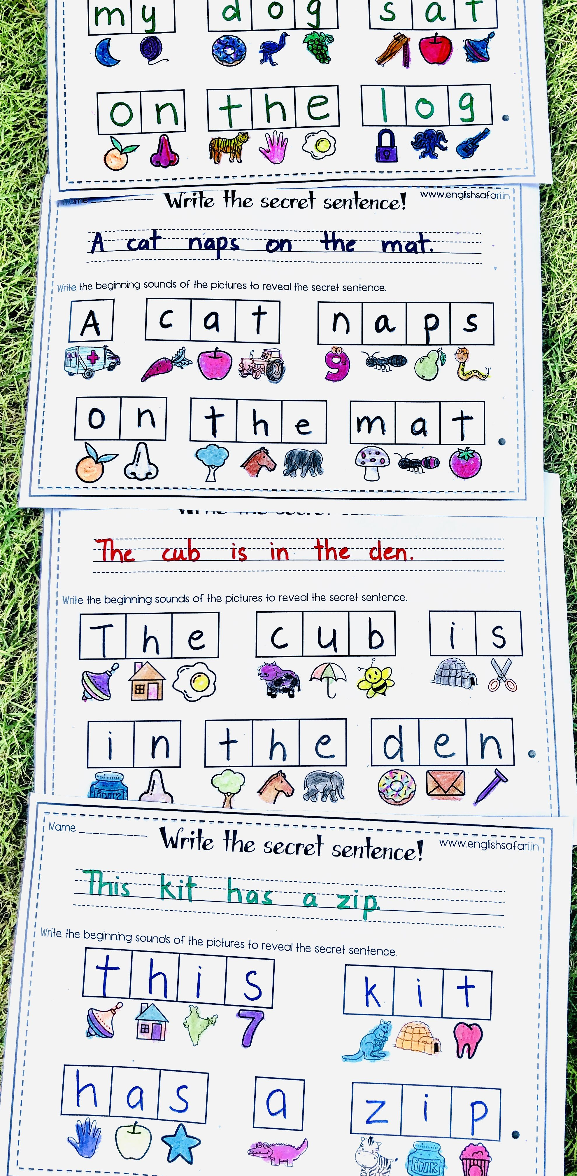 Write A Sentence Worksheets For Kindergarten Free In
