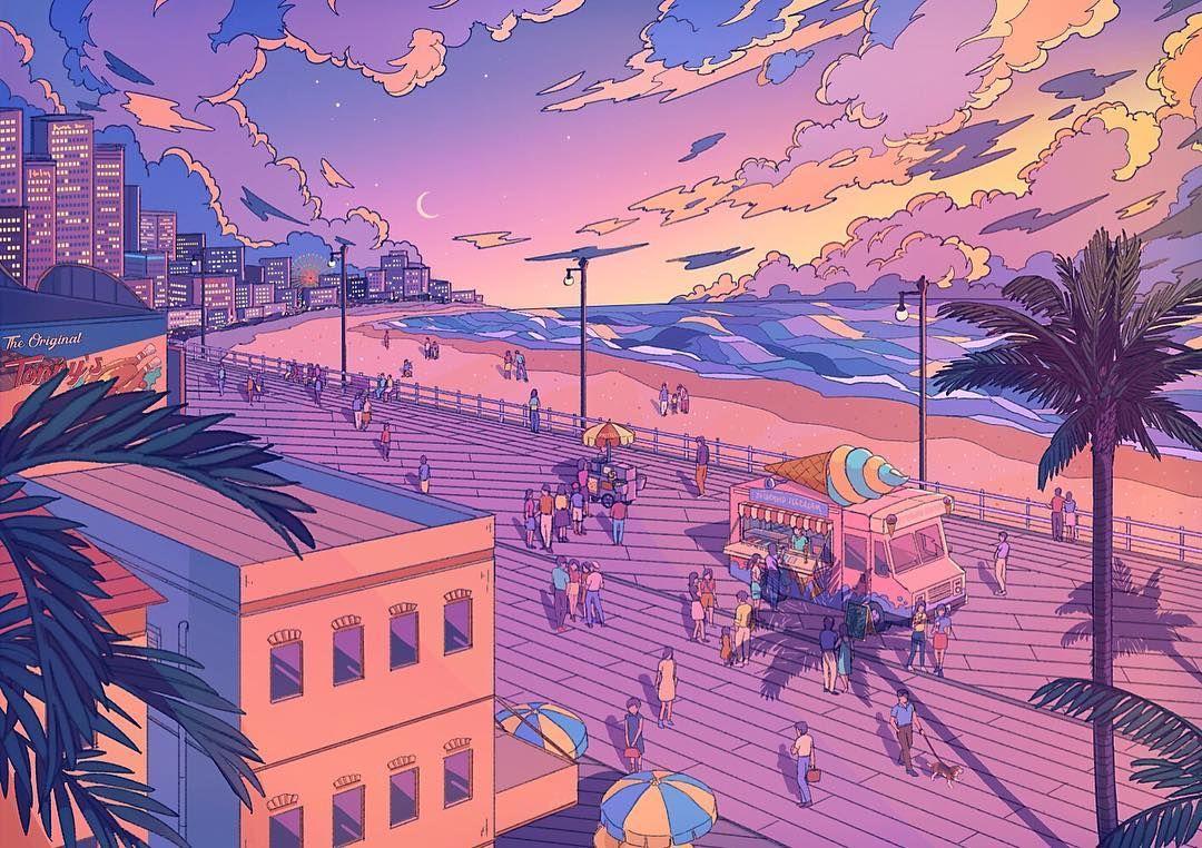 Boardwalk Boardwalk Vaporwave Vaporwaveart 80s Citypop Resort Retrowave Retrowaveart Beach Aesthetic Digital Artwork Vaporwave Art