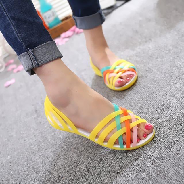 8bfa727e3c5 HEVXM Women Sandals 2017 Summer New Candy Color Peep Toe Beach Valentine  Rainbow Jelly Shoes Woman Wedges Sandals - 10 MINUS