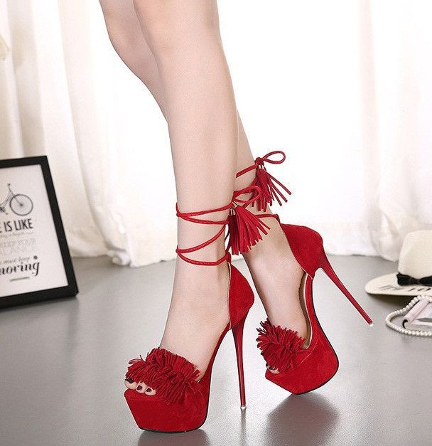a53bf39f580869 Womens Sexy Fringe Open Toe Pump Stiletto High Heels