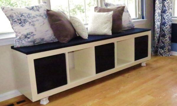 window seat bookshelf desk this bench was made by using an ikea bookshelf and adding legs padding fabric pillows cost effective solution to built in window seat lisa beck legs