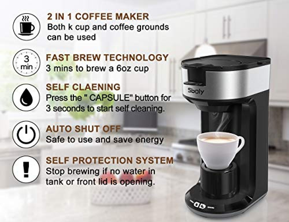 Small Single Serve Coffee Machine K Cup Pod And Ground Coffee Maker Brewer With Auto Shut Off In 2020 Coffee Maker Single Serve Coffee Makers Single Cup Coffee Maker