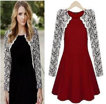 LADIES CELEBRITY STYLE SKATER DRESS WHITE LACE LONG SLEEVE PARTY ...