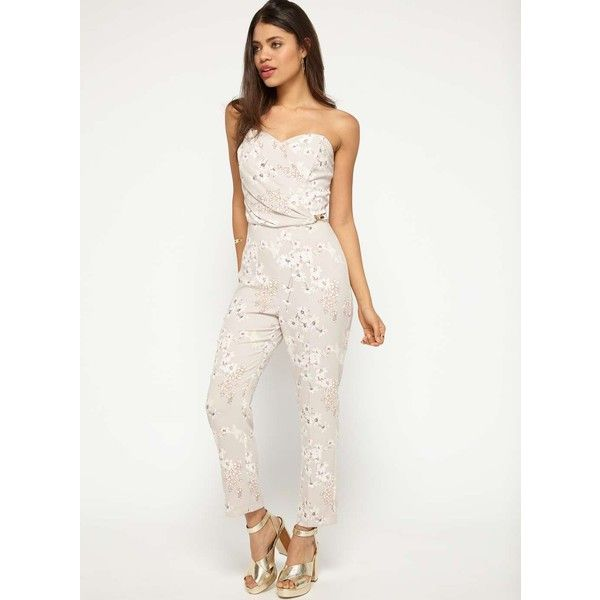 abf5ee3ebf Miss Selfridge Mink Floral Bandeau Jumpsuit (135 RON) ❤ liked on Polyvore  featuring jumpsuits