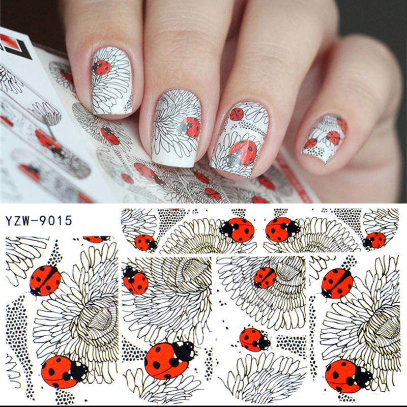 FWC 1 Sheet Fashion Water Transfer 3D Grey Cute Ladybug Pattern ...