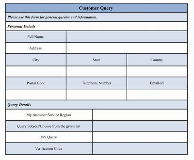 Customer Query Form Form design and Template - customer form template